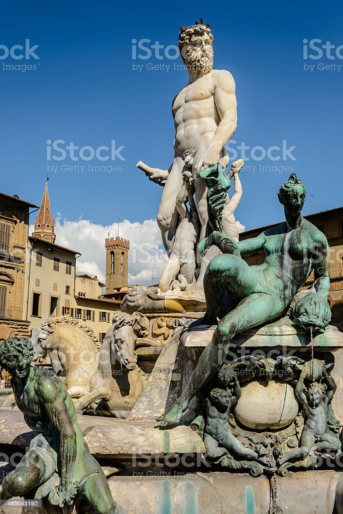 Neptune Fountain Florence Italy Backed by an Intense Blue Sky stock photo