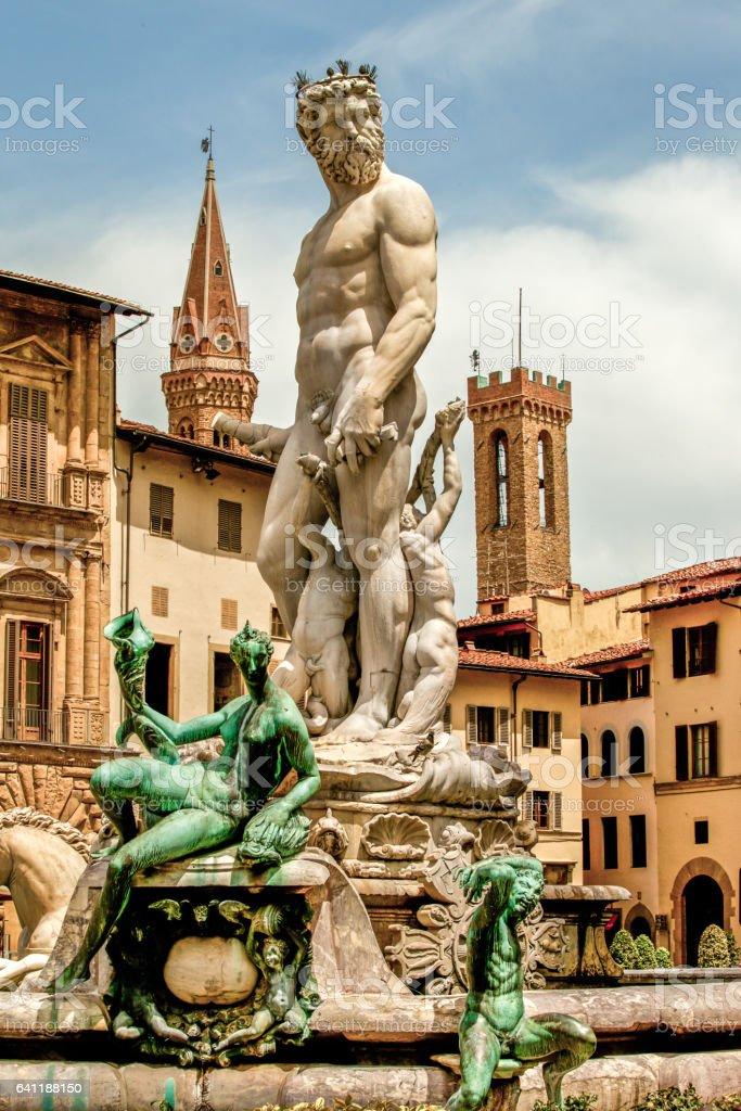 Neptune Fountain, Florence stock photo