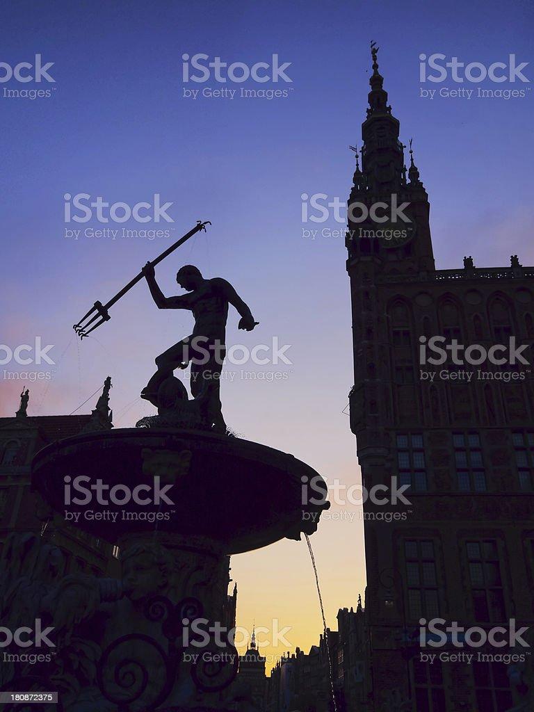 Neptune Fountain in Gdansk, Poland stock photo