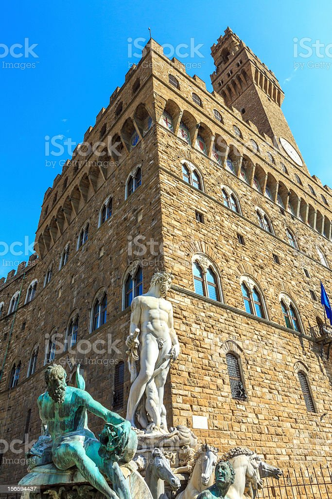 Neptune Fountain in Piazza della Signoria royalty-free stock photo