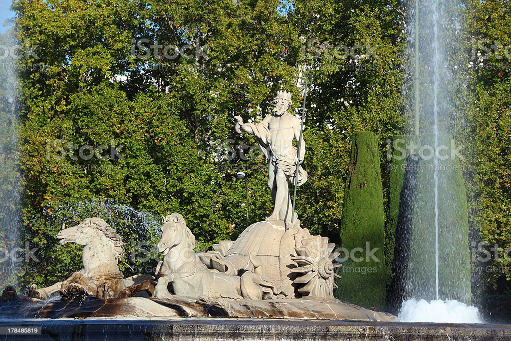 Neptune fountain in Madrid royalty-free stock photo