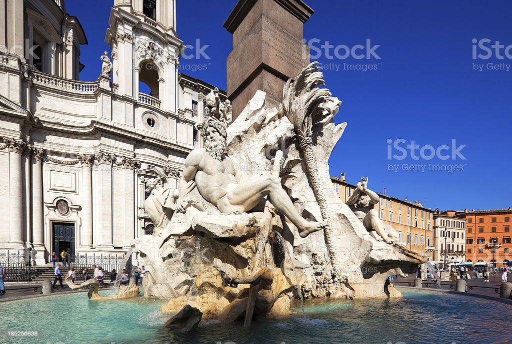 Neptune Fountain in Rome, Italy stock photo