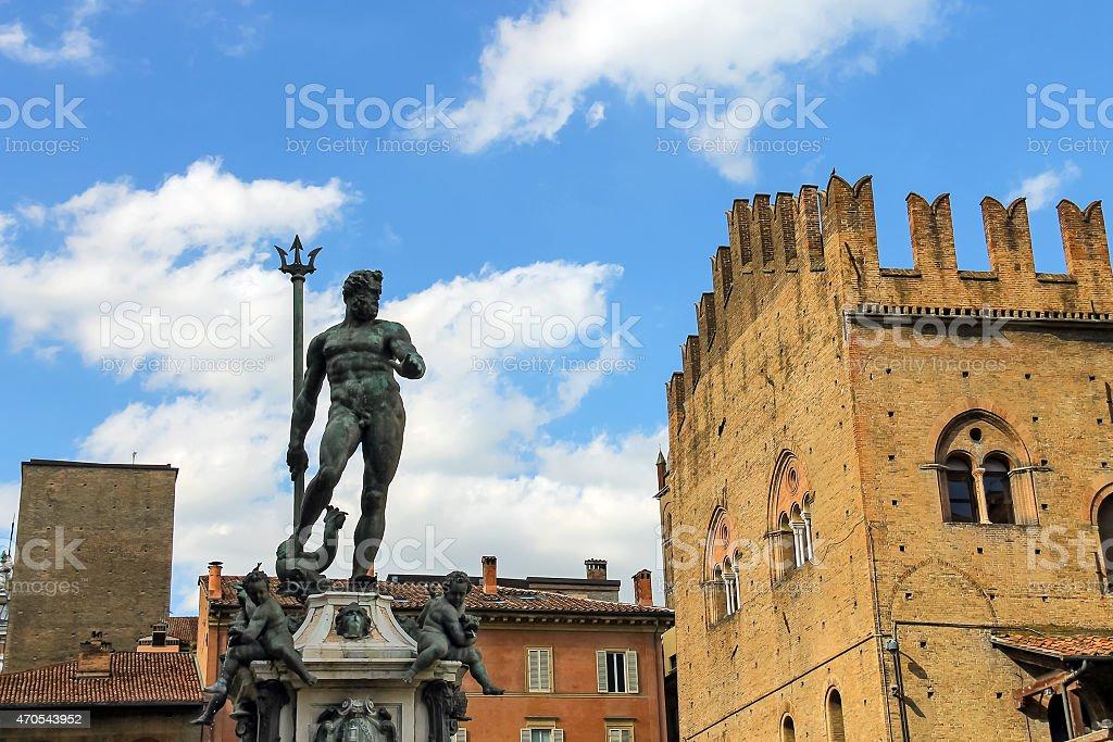 Neptune fountain in the Piazza Maggiore in Bologna, Italy stock photo