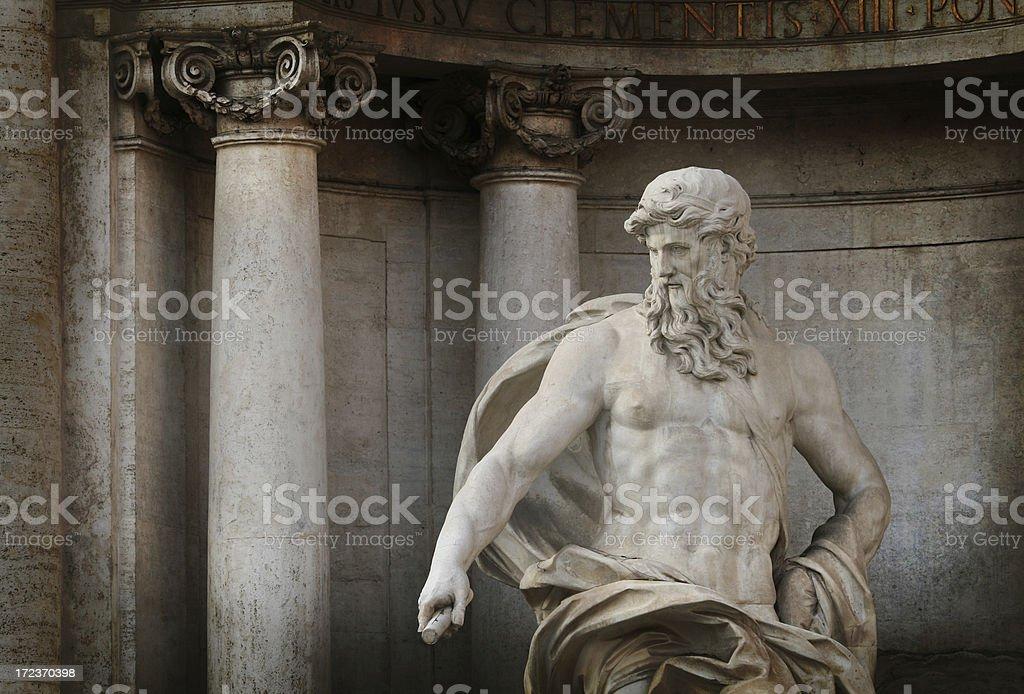 Neptune - Main sculpture at Fontana di Trevi, Rome Italy royalty-free stock photo