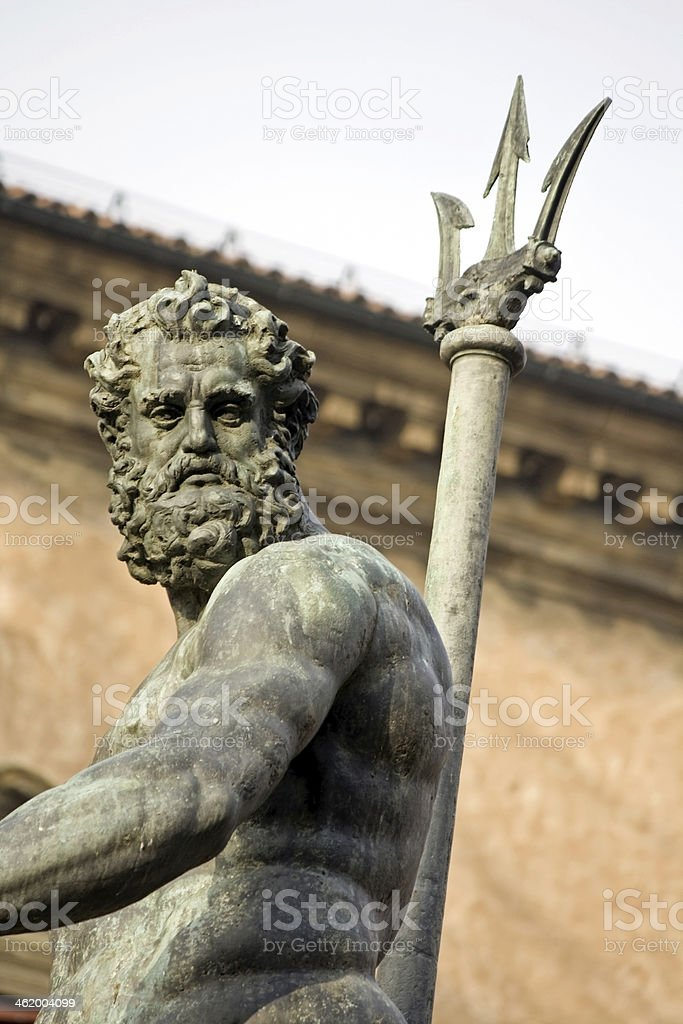 neptune 's portrait - bologna, piazza maggiore stock photo