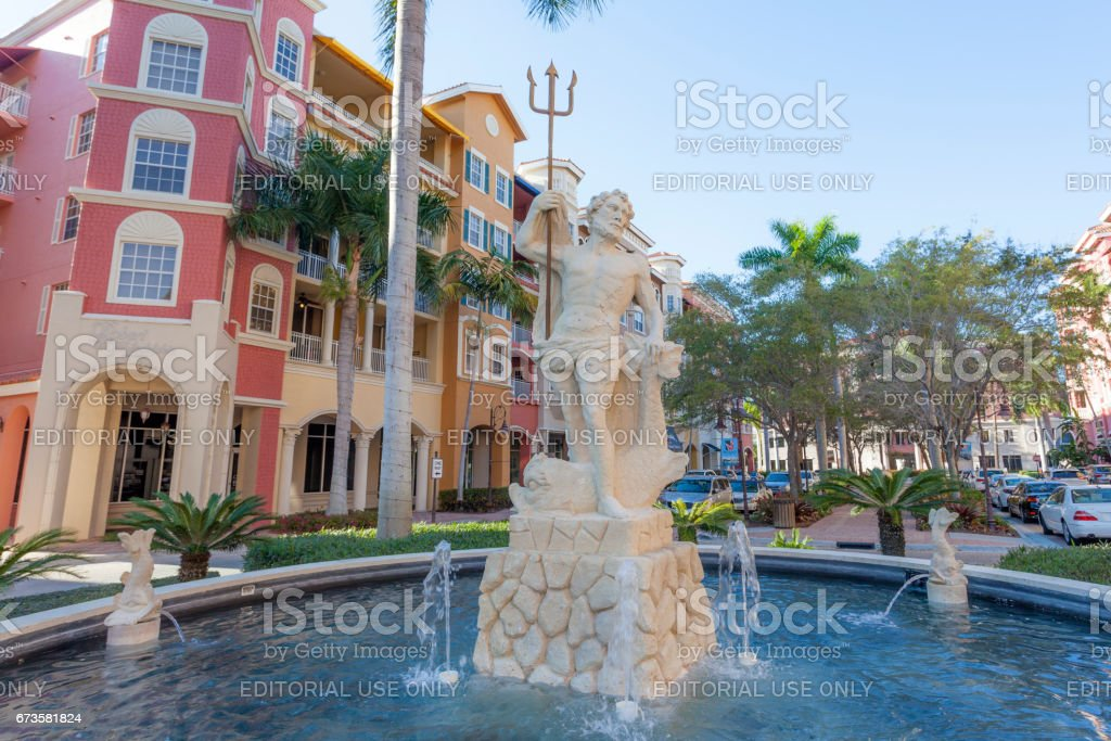 Neptune statue and fountain in Naples, Florida stock photo