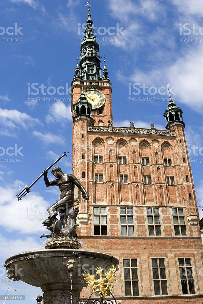 Neptune statue and Town hall, Gdansk, Poland royalty-free stock photo