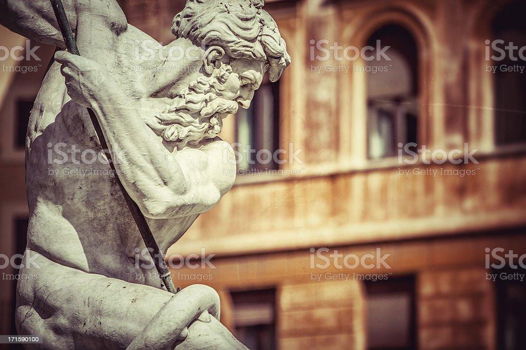 Neptune Statue at Piazza Navona in Rome stock photo