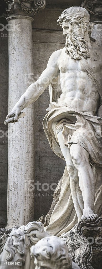 Neptune Statue at Trevi Fountain in Rome royalty-free stock photo