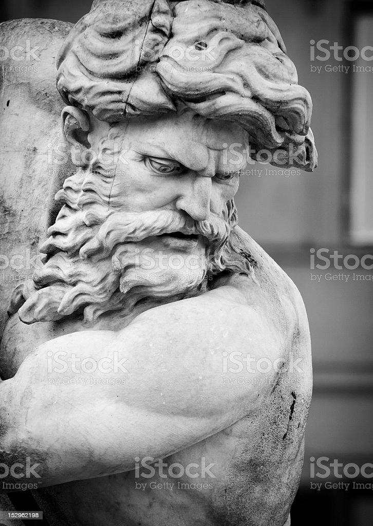 Neptune Statue Face in Monochrome stock photo