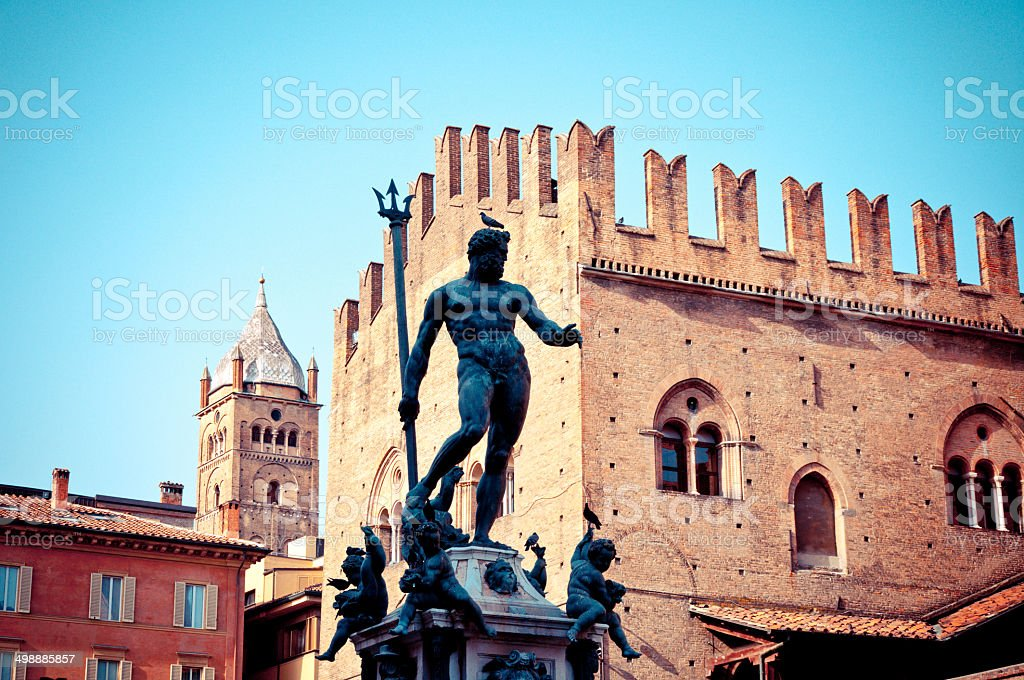 Neptune Statue in Bologna, Italy stock photo