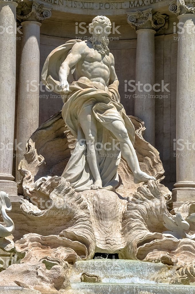 Neptune statue of the Trevi Fountain in Rome Italy stock photo