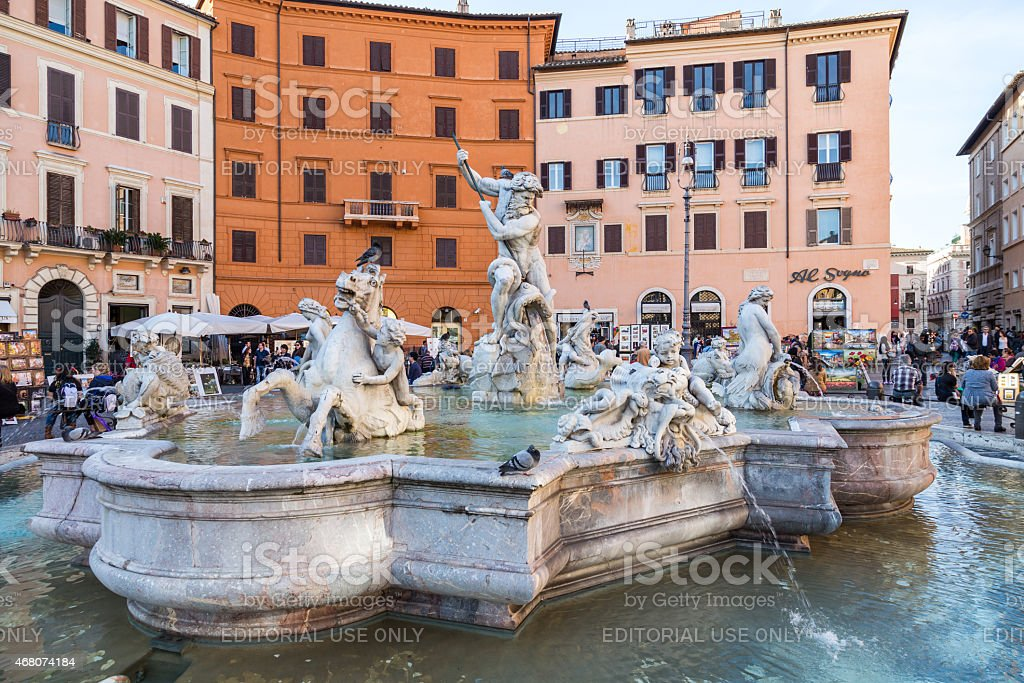 Neptune Statue in Piazza Navona stock photo