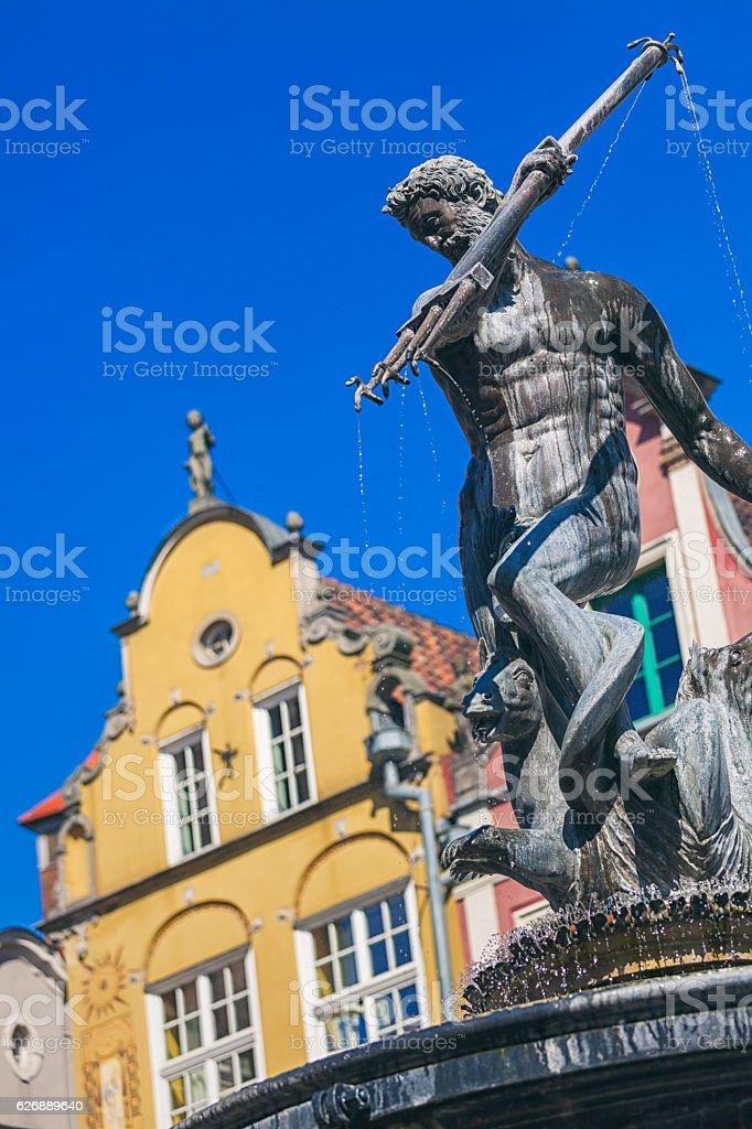 Neptune's fountain, Gdansk stock photo