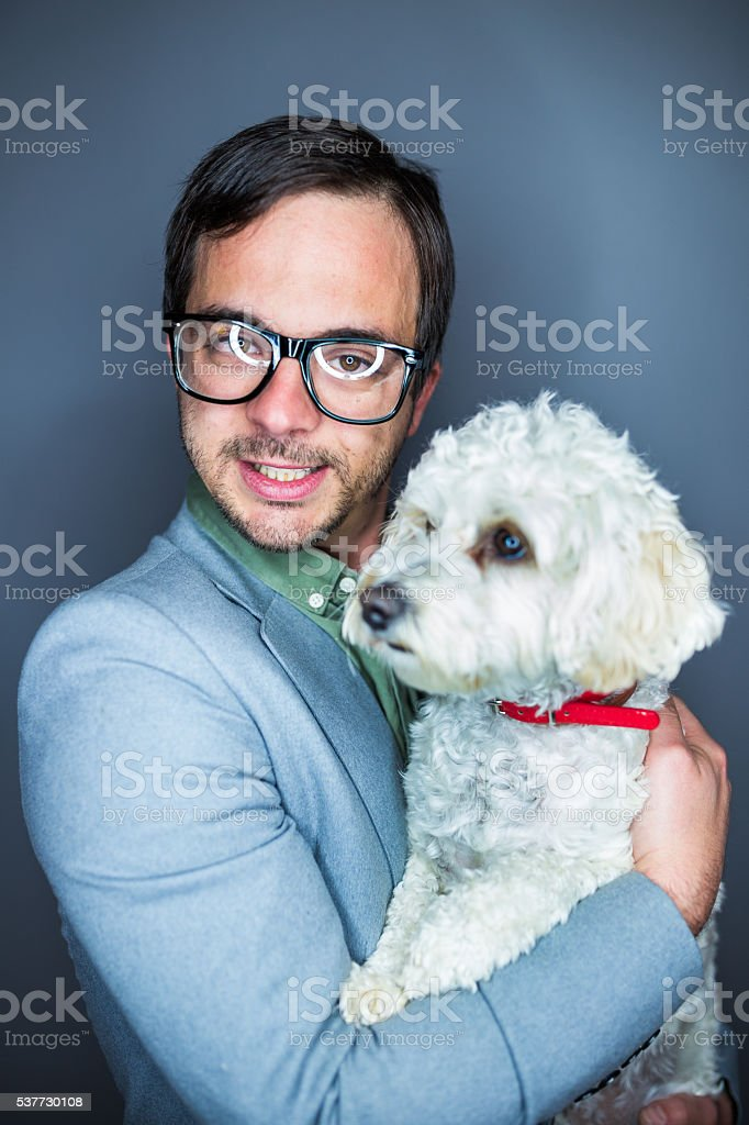 Nerd and a dog stock photo