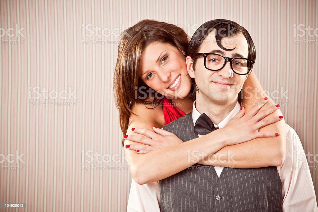 nerd and beautiful girl couple in love close portrait stock photo