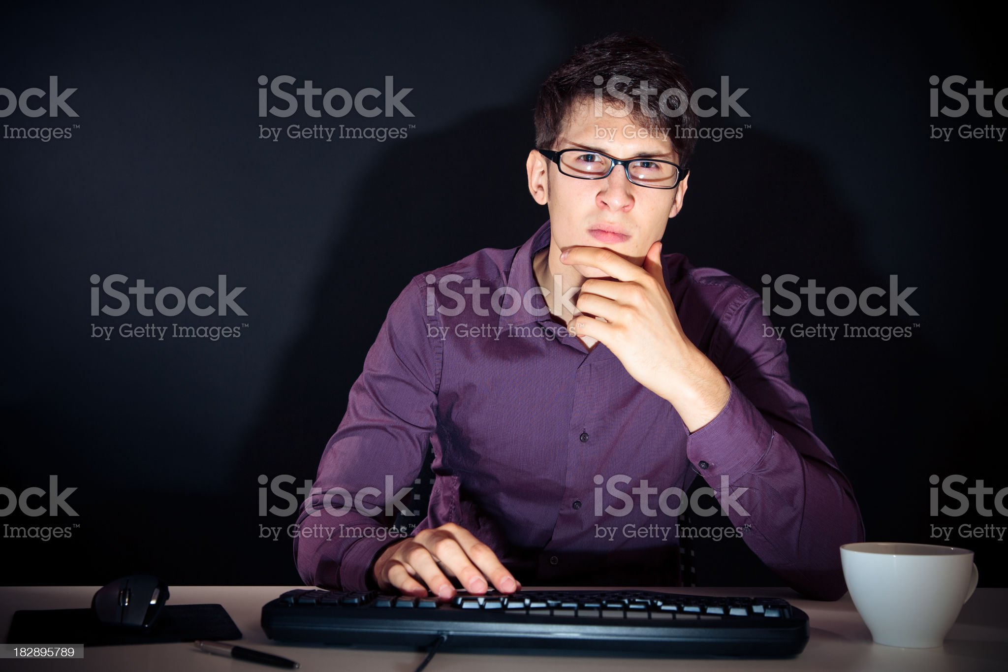 nerd and his computer royalty-free stock photo