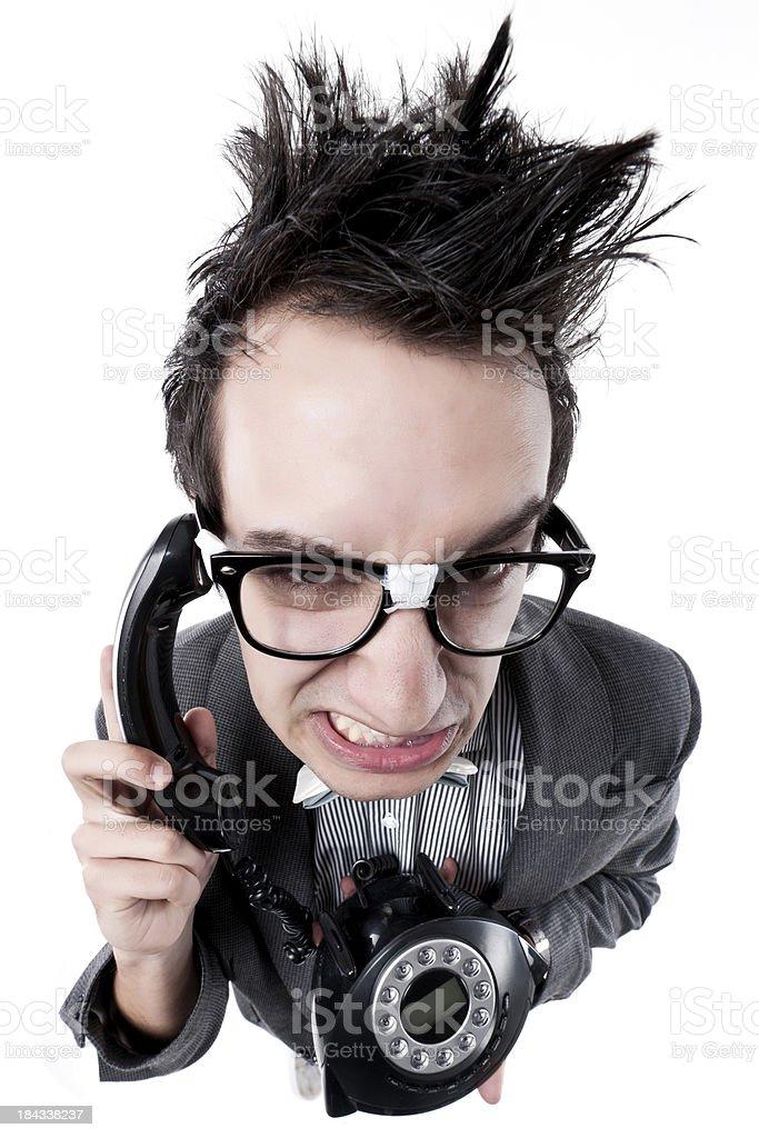 nerd at phone stock photo