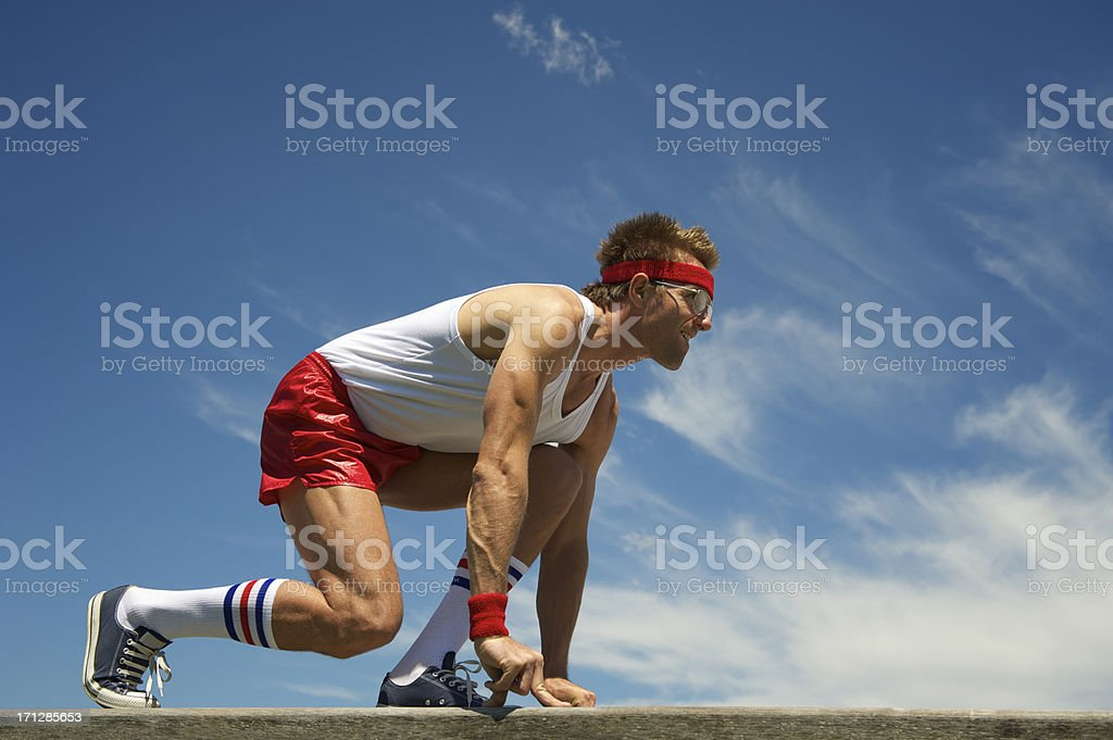 Nerd Athlete Gets Ready to Sprint stock photo