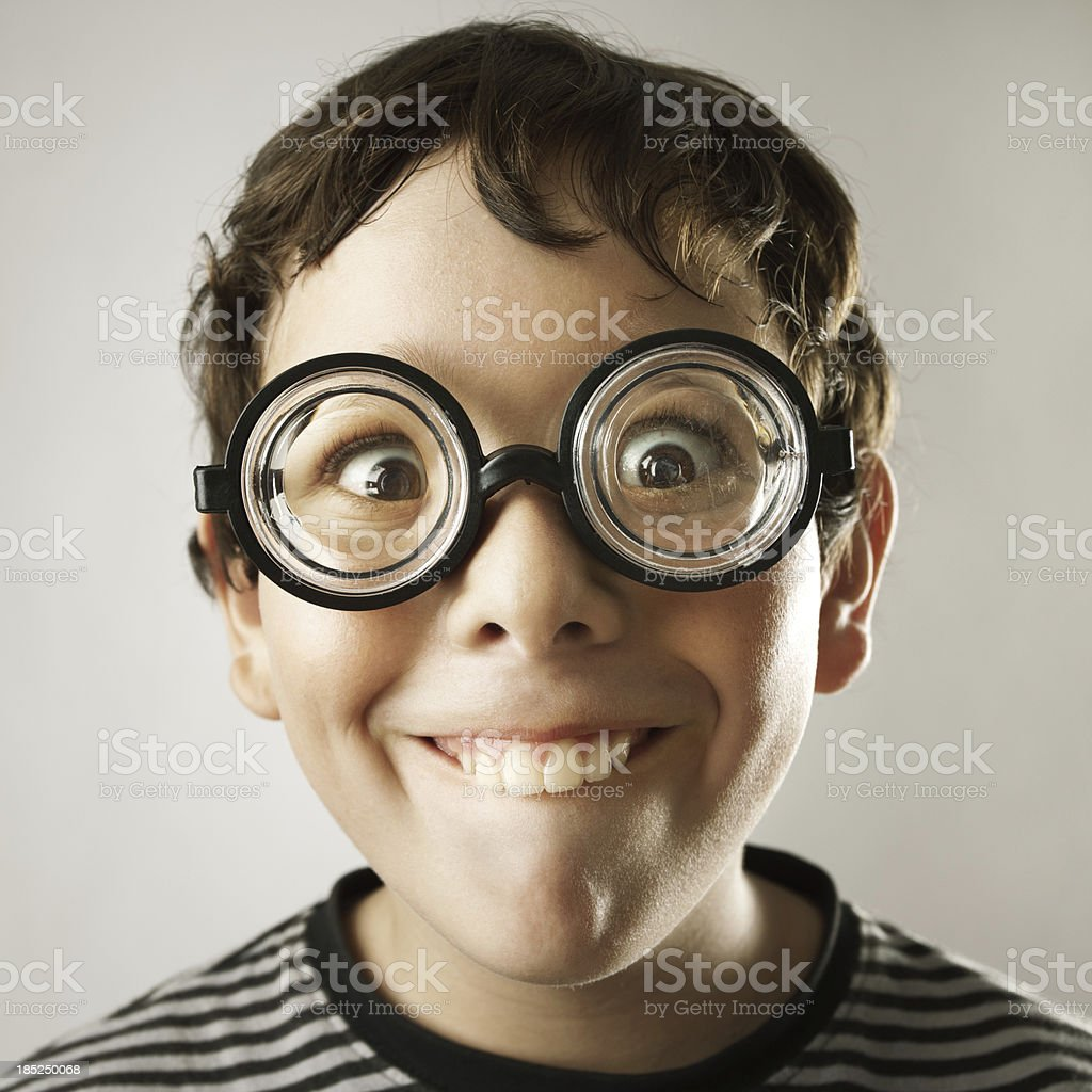 Nerd boy stock photo