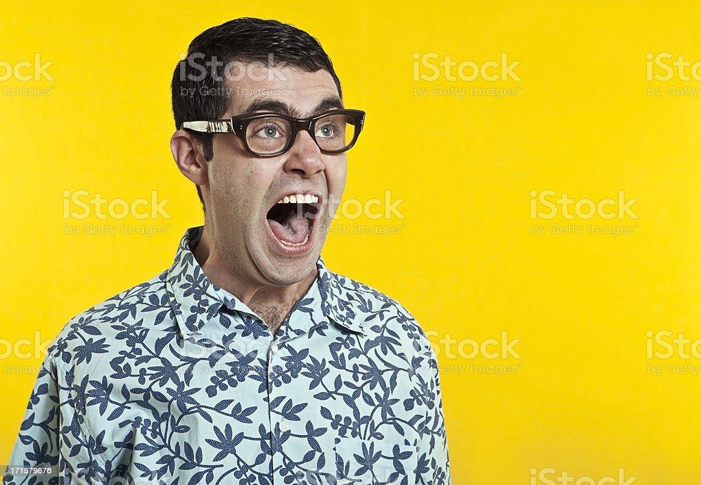 nerd boy screaming stock photo