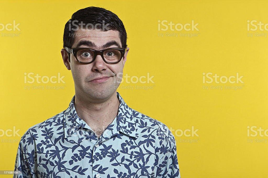nerd boy with hawwai shirt royalty-free stock photo
