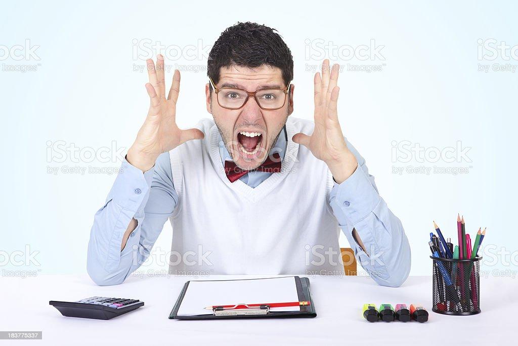 Nerd businessman screaming royalty-free stock photo