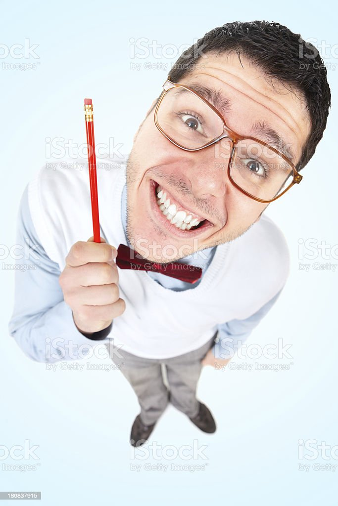 Nerd businessman with big head holding pen royalty-free stock photo