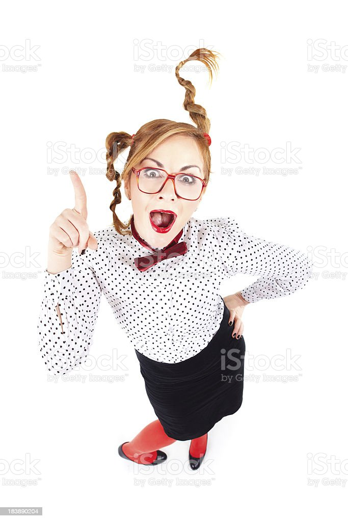 Nerd businesswoman gesturing with hand isolated on white background royalty-free stock photo