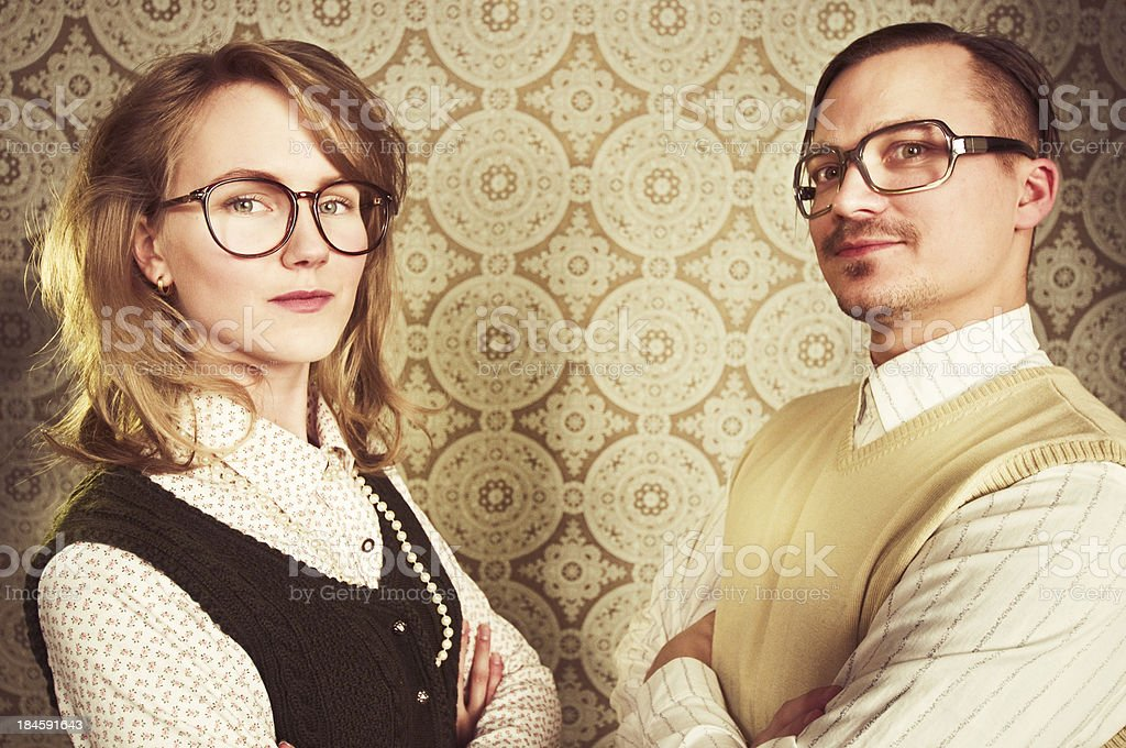 nerd couple in the office royalty-free stock photo