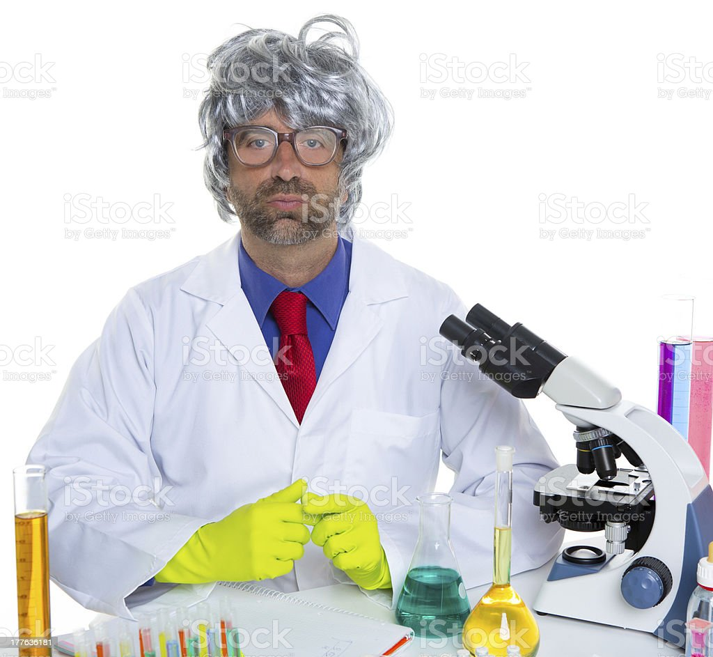 Nerd crazy scientist man portrait working at laboratory royalty-free stock photo
