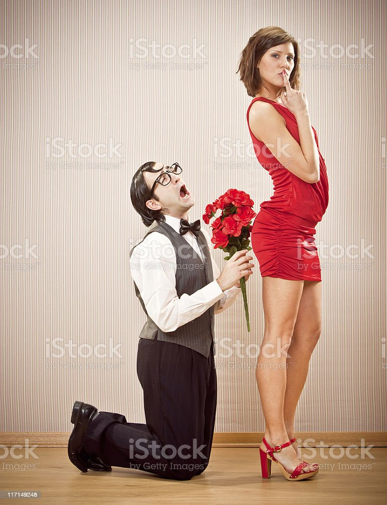 nerd cry at engagement proposal with roses royalty-free stock photo