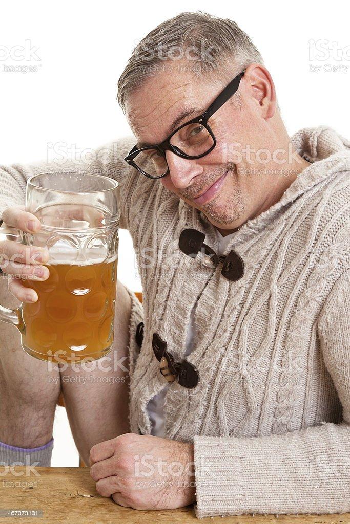 nerd drinking beer royalty-free stock photo
