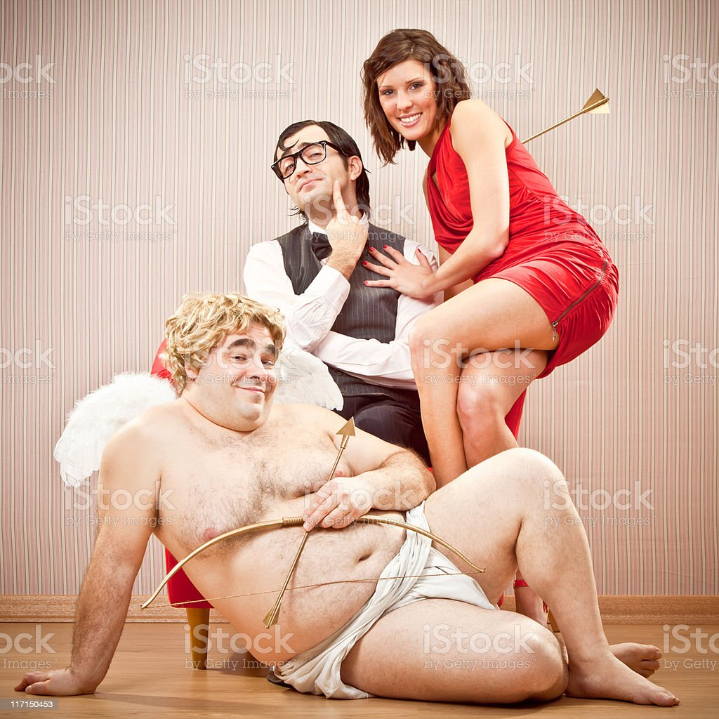 nerd  found love and ask for kiss with cupid help stock photo