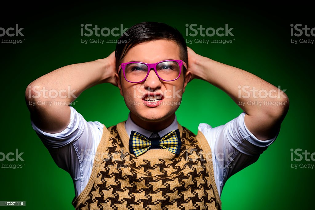 nerd frowning royalty-free stock photo