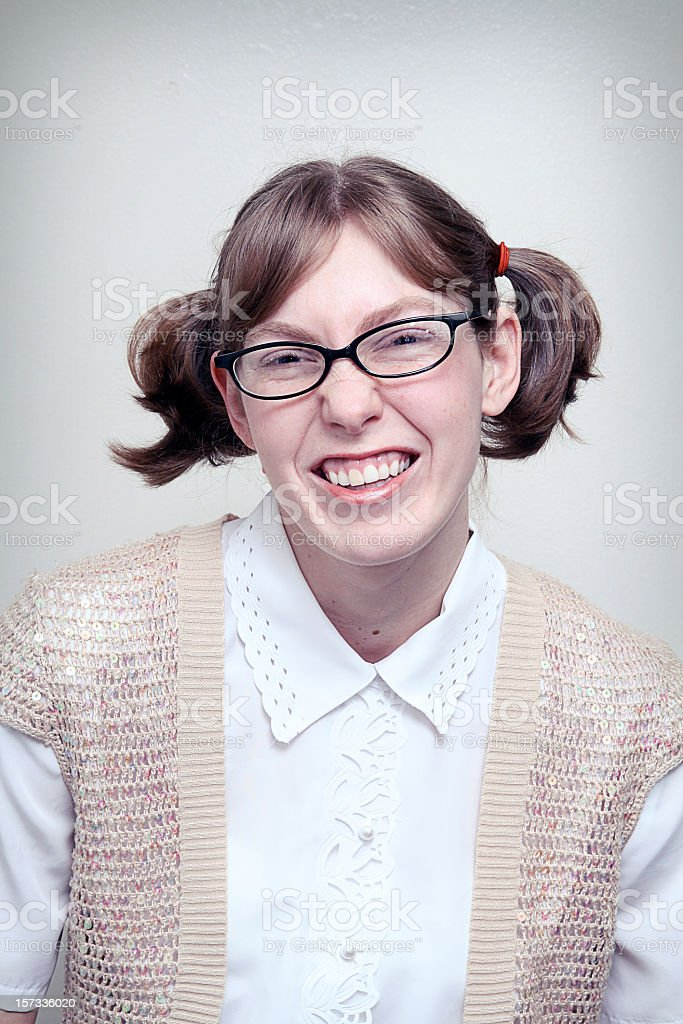 Nerd Girl Highschool Picture stock photo