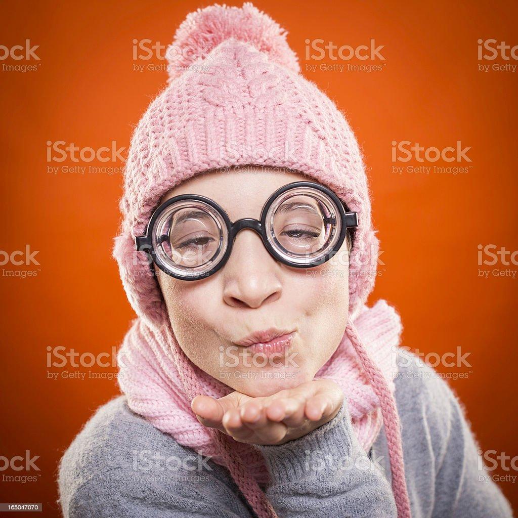 Nerd girl in love royalty-free stock photo