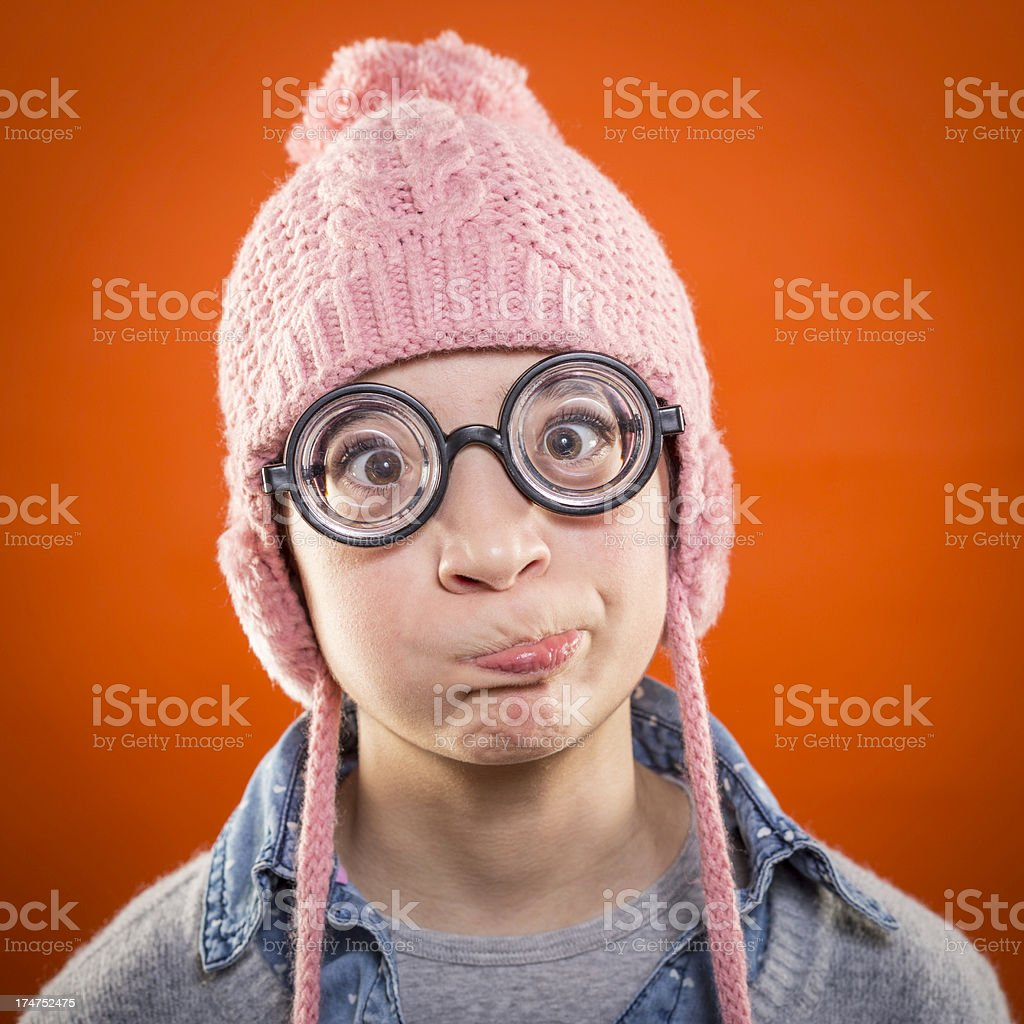 Nerd girl making a face royalty-free stock photo