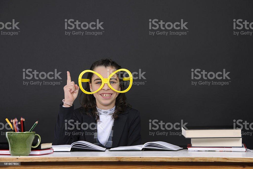 nerd girl with idea royalty-free stock photo