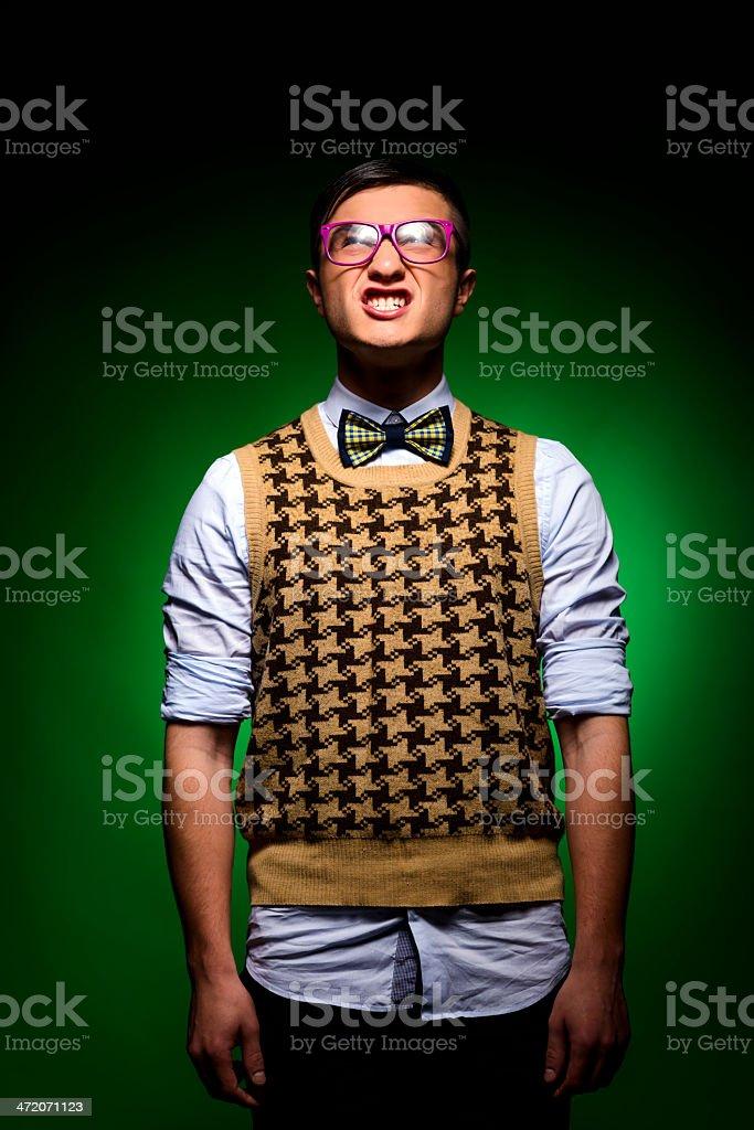nerd grimacing royalty-free stock photo