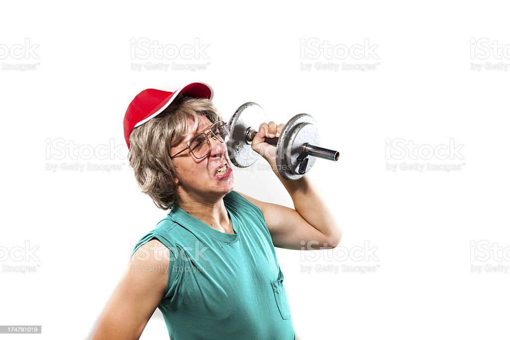 Nerd Guy Lifting Weights Isolated royalty-free stock photo