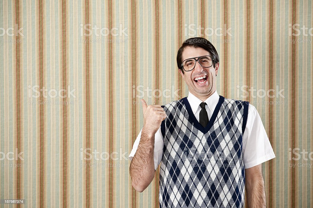 Nerd In Retro Vest royalty-free stock photo
