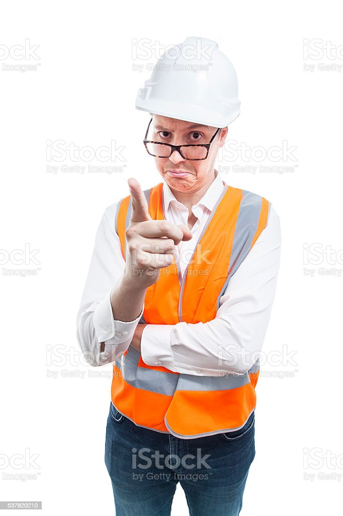 Nerd in safety gear telling somebody off stock photo