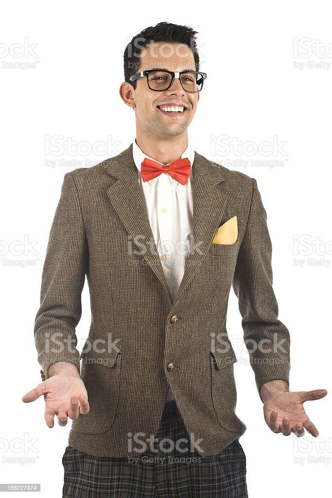 Nerd isolated on white royalty-free stock photo