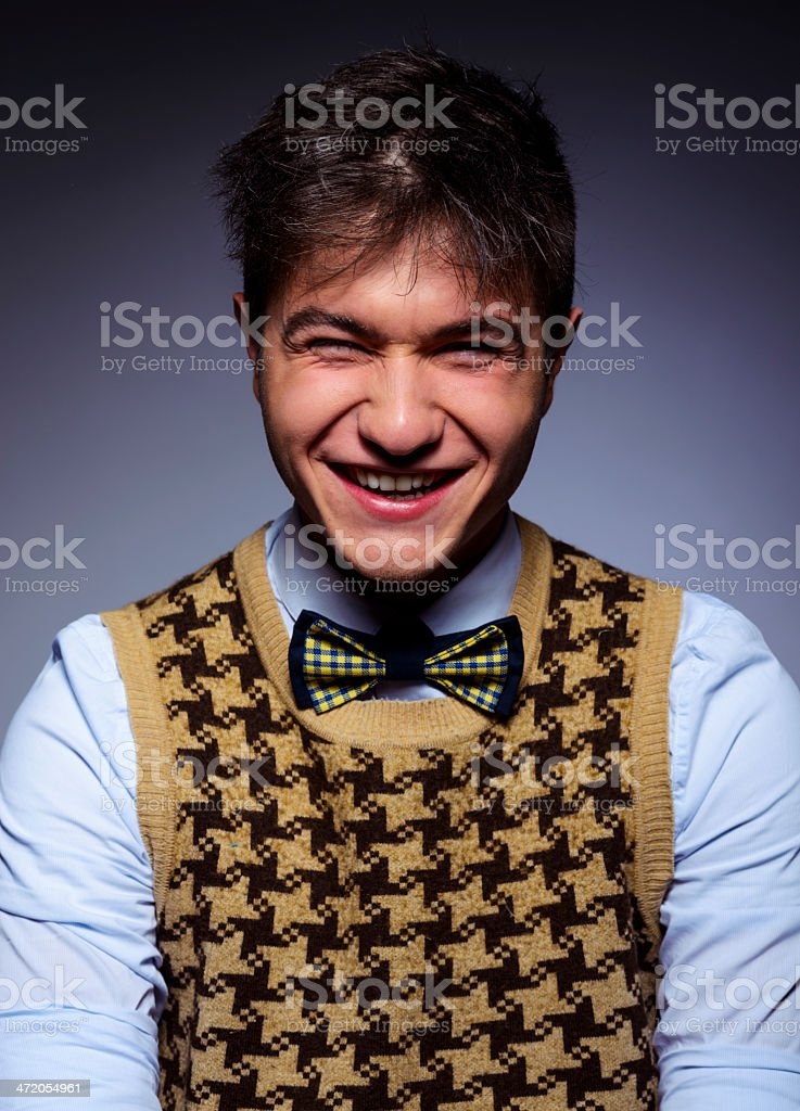 nerd laughing royalty-free stock photo