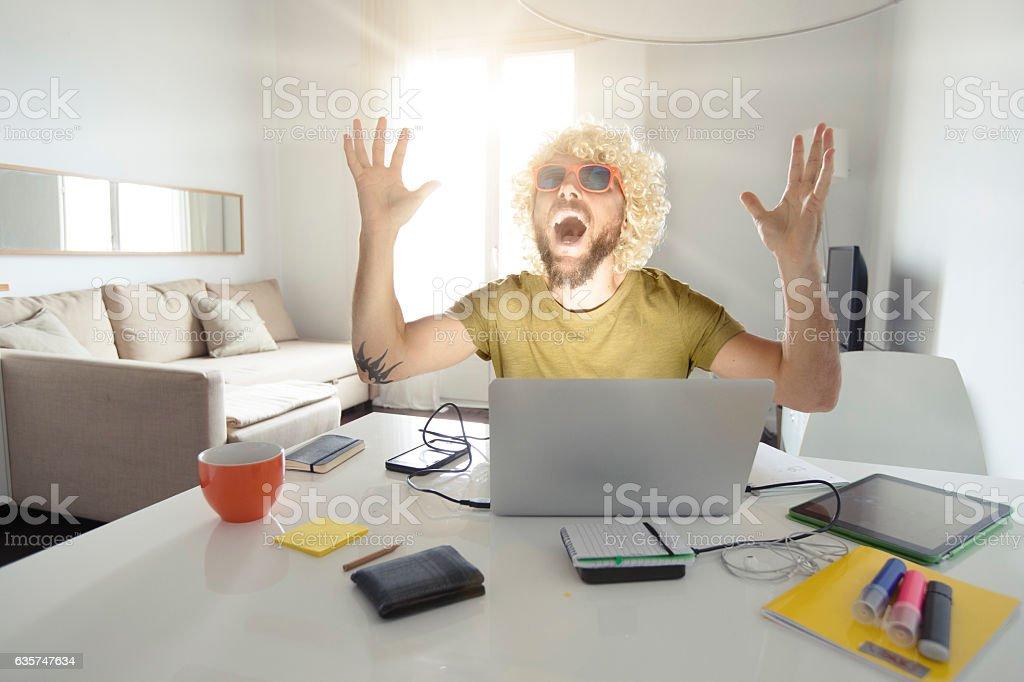 Nerd man achieved difficult task stock photo