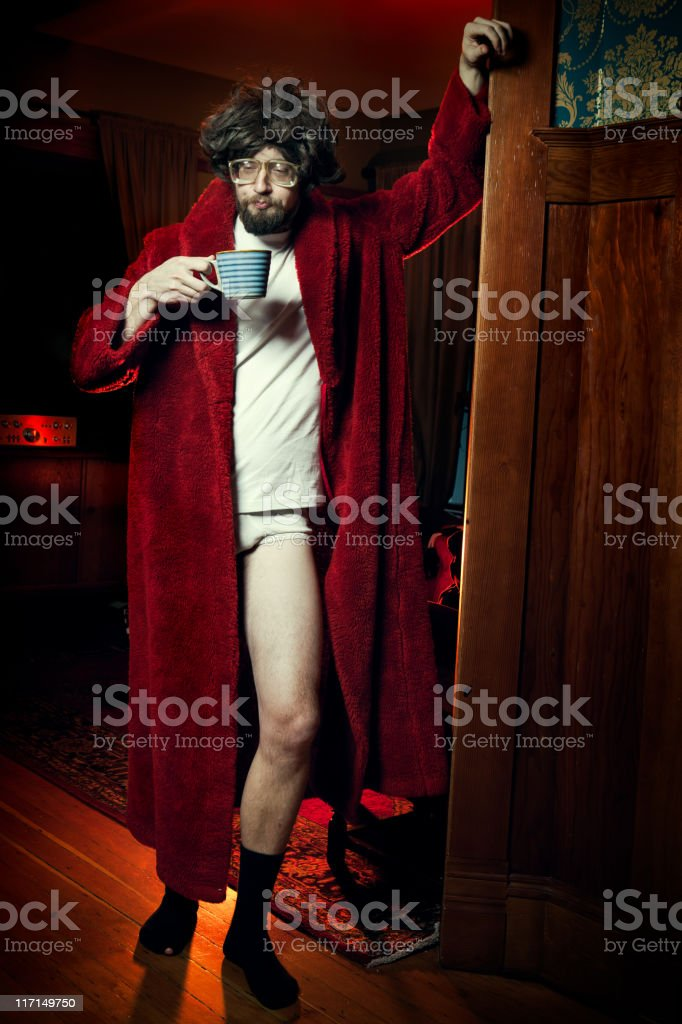 Nerd Man in Bathrobe with Morning Coffee stock photo