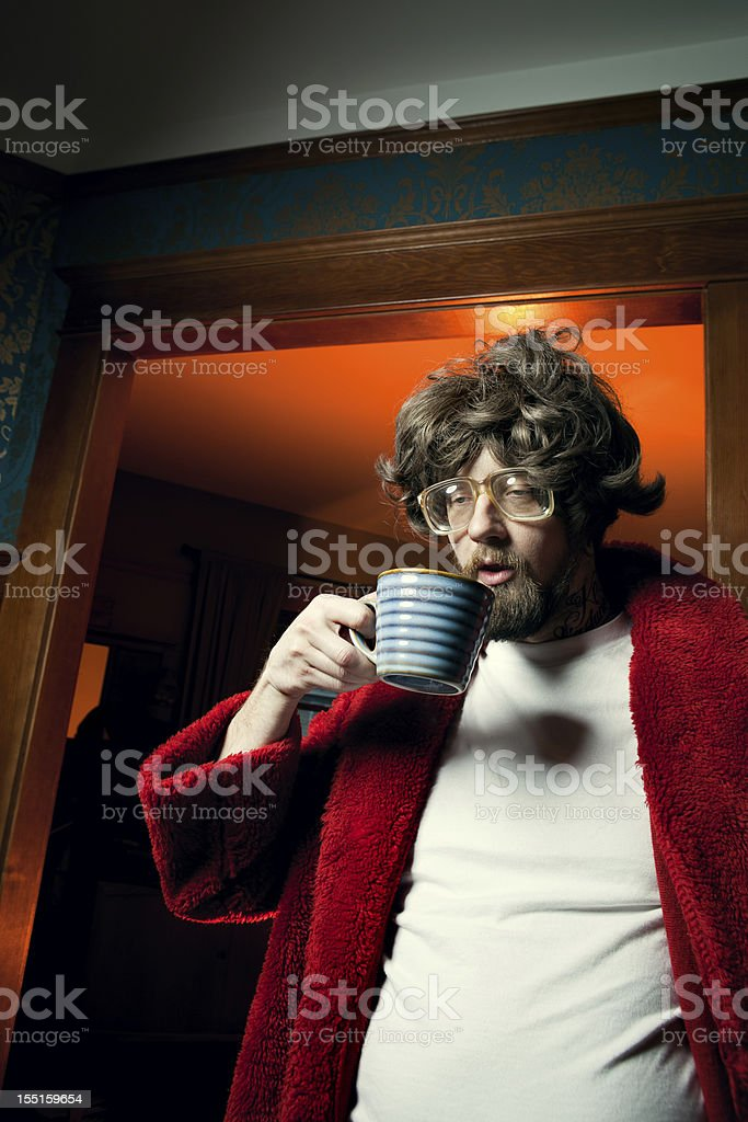 Nerd Man in Bathrobe with Morning Coffee royalty-free stock photo