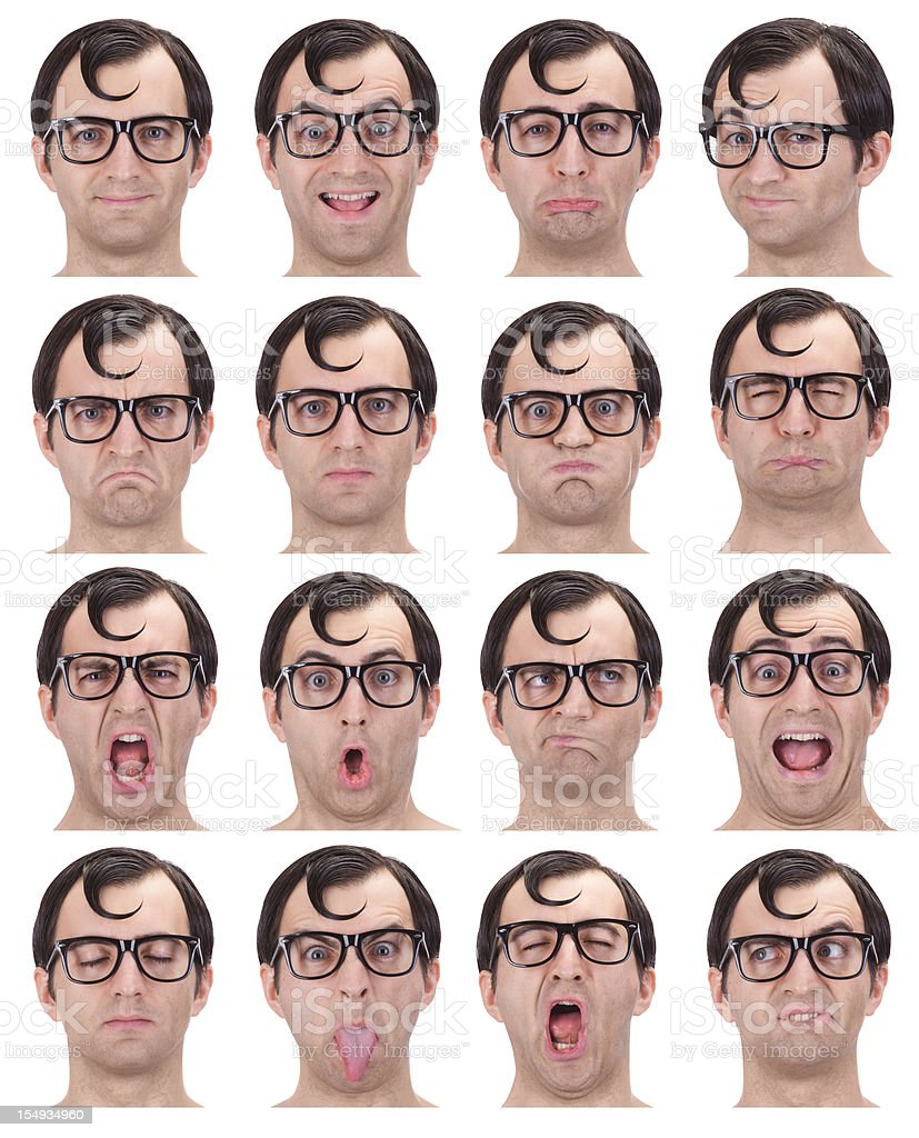 nerd multiple expressions set isolated on white royalty-free stock photo