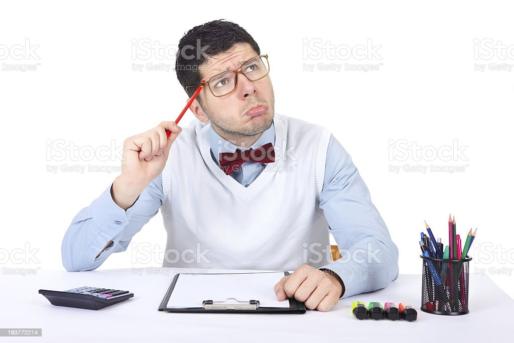 Nerd office worker making funny face at his office stock photo